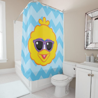 Big Bird Smiling Face with Sunglasses Shower Curtain