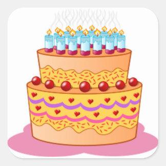 Big Birthday Cake Square Sticker