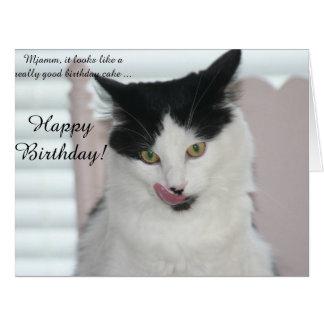 Big Birthday Card: Cat ready to enjoy a cake Big Greeting Card