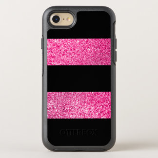Big Black and Hot Pink Glitter Stripes OtterBox Symmetry iPhone 8/7 Case