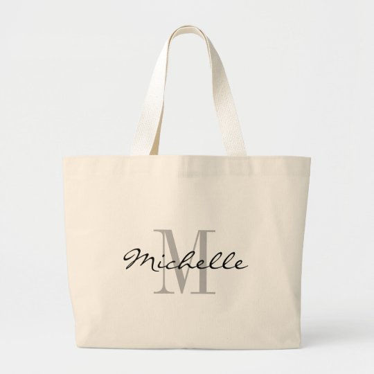 Big black and white name monogram jumbo tote