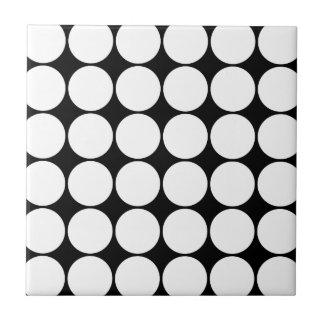 Big Black and White Polka Dots Circles Pattern Small Square Tile