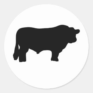 big black angus bull classic round sticker