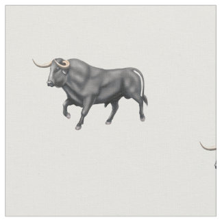 Big Black Bull Brushed Cotton Fabric