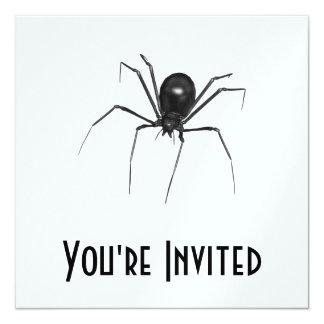 Big Black Creepy 3D Spider 13 Cm X 13 Cm Square Invitation Card