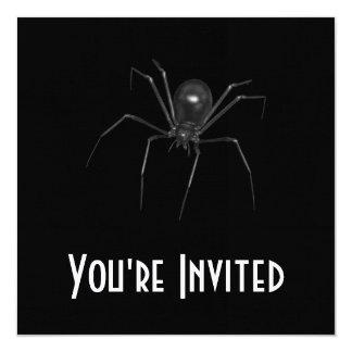 Big Black Creepy 3D Spider 5.25x5.25 Square Paper Invitation Card