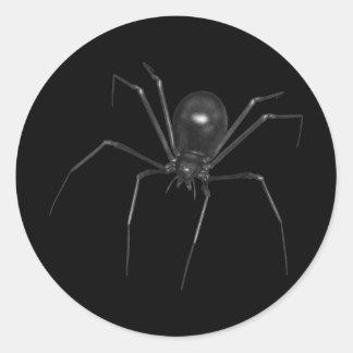 Big Black Creepy 3D Spider Round Sticker