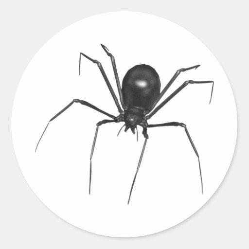Big Black Creepy 3D Spider Round Stickers