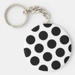 Big Black Diagonal Dots Basic Round Button Key Ring