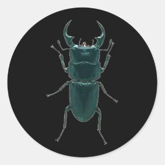 Big Black Dung Beetle Round Sticker