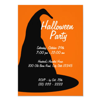 Big Black Halloween Hat 13 Cm X 18 Cm Invitation Card