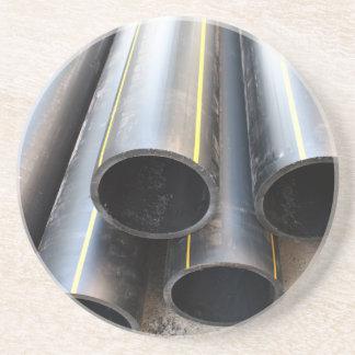 Big black pipe closeup plastic large diameter for coaster