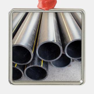 Big black pipe closeup plastic large diameter for Silver-Colored square decoration