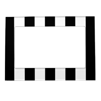 Big Black Stripes on Customizable Background Magnetic Picture Frame