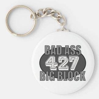 big block bad 427 basic round button key ring