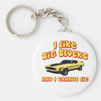 Big Blocks Mustang Mach 1 Fastback Basic Round Button Key Ring