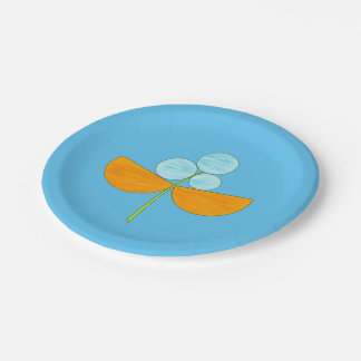 Big blue and orange watercolor flower paper plate