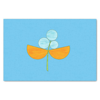 Big blue and orange watercolor flower tissue paper