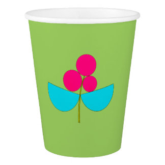 Big blue and pink flower on green paper cup