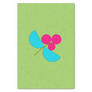 Big blue and pink flower on green tissue paper