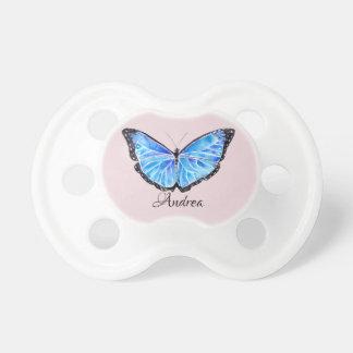 Big Blue Butterfly Watercolor Pattern | Pacifier