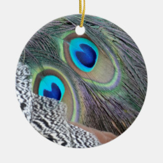 Big Blue Eyes Of A Peacock Feather Christmas Ornament