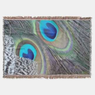 Big Blue Eyes Of A Peacock Feather Throw Blanket