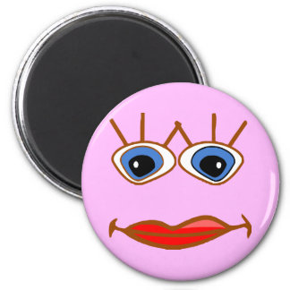 big blue eyes red lips face 6 cm round magnet