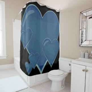 Big blue hearts shower curtain