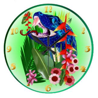 Big Blue Jungle Snake Clocks