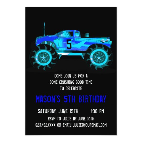 Big Blue Monster Truck Birthday Party Invitations