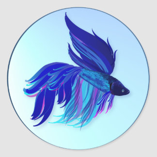 Big Blue Siamese Fighting Fish Stickers
