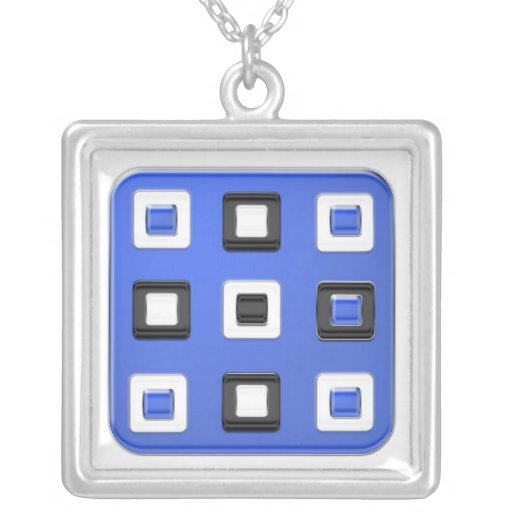 Big blue square, little black & white squares personalized necklace
