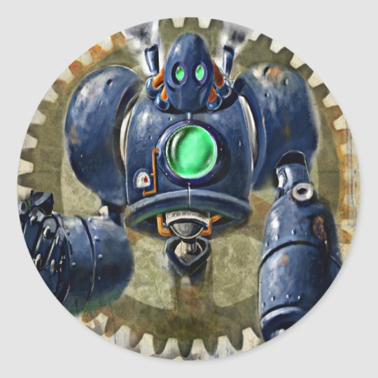 Big Blue Steampunk Robo Classic Round Sticker