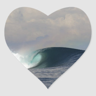 Big blue tropical ocean surfing wave heart sticker