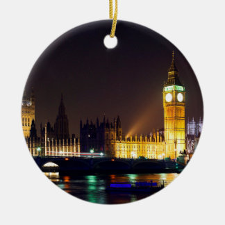 Big Bn on London River Christmas Ornament