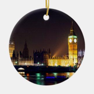 Big Bn on London River Round Ceramic Decoration