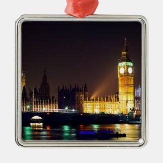 Big Bn on London River Silver-Colored Square Decoration