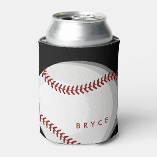 Big Bold Baseball Custom Name Black Can Cooler