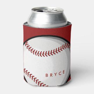 Big Bold Baseball Custom Name Red Can Cooler