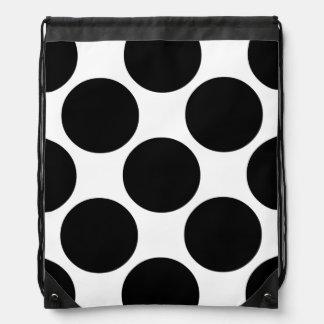 Big Bold Black and White Dots Drawstring Bag