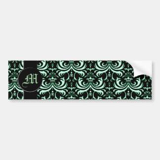 Big Bold Damask Apple Green Bumper Stickers