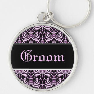 Big Bold Damask (Pink) (Wedding) Silver-Colored Round Key Ring
