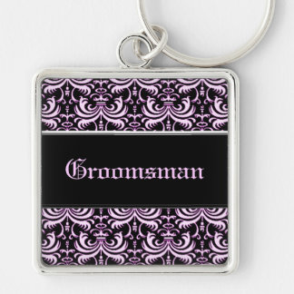 Big Bold Damask (Pink) (Wedding) Silver-Colored Square Key Ring