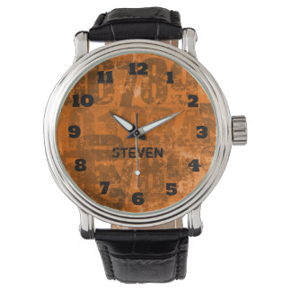 Big Bold Numbers on Brownish Orange Grunge Texture Wrist Watches