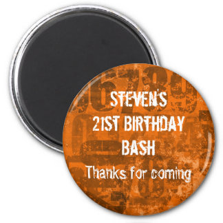 Big Bold Numbers on Grunge Thank You Birthday 6 Cm Round Magnet