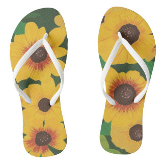 Big Bold Painted Yellow Sunflowers Green FlipFlops