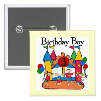 Big Bounce Boy 3rd Birthday T shirts and Gifts 15 Cm Square Badge