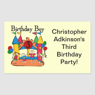 Big Bounce Boy 3rd Birthday T shirts and Gifts Rectangular Sticker