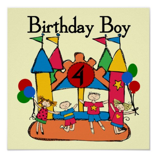 Big Bounce Boy 4th Birthday Tshirts and Gifts Print